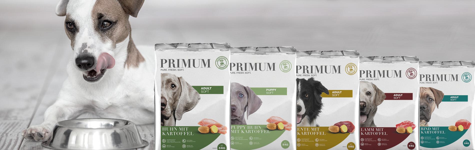 Primum getreidefreies halbfeuchtes Hundefutter mit viel Fleisch